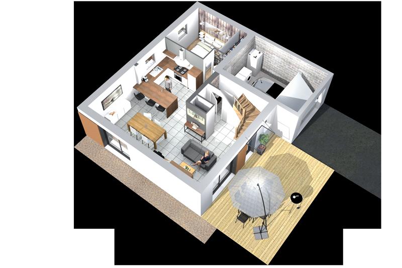 Construire Une Maison Contemporaine à étage Maisons Clefs DOr - Plan interieur maison moderne